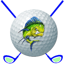 Alt= Mahi Mahi logo golf ball